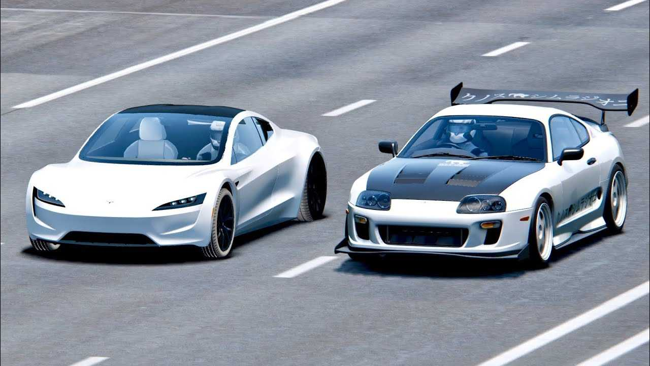 New Tesla Roadster >> Watch New Tesla Roadster Take Down Toyota Supra Simulated